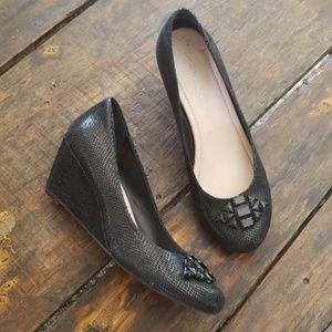 BCBGeneration Black jeweled wedges shoes